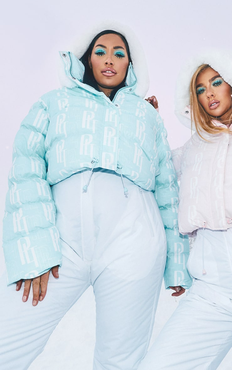 PRETTYLITTLETHING Plus Ski Pastel Blue Faux Fur Hooded Cropped Puffer Coat 1