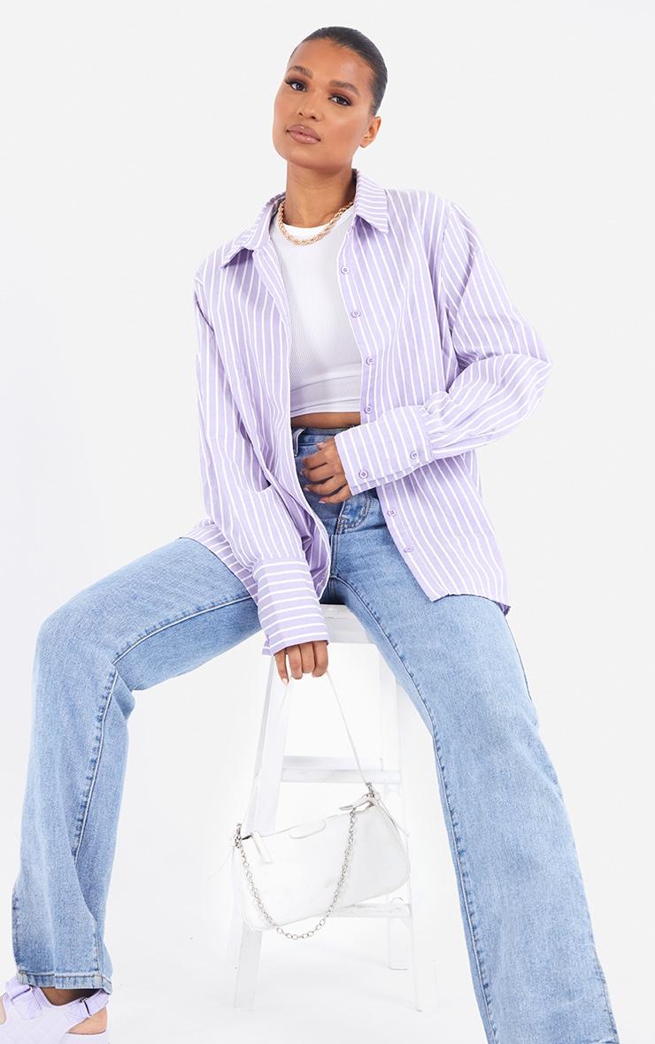 Lilac Oversized Pinstripe Cuff Shirt 1