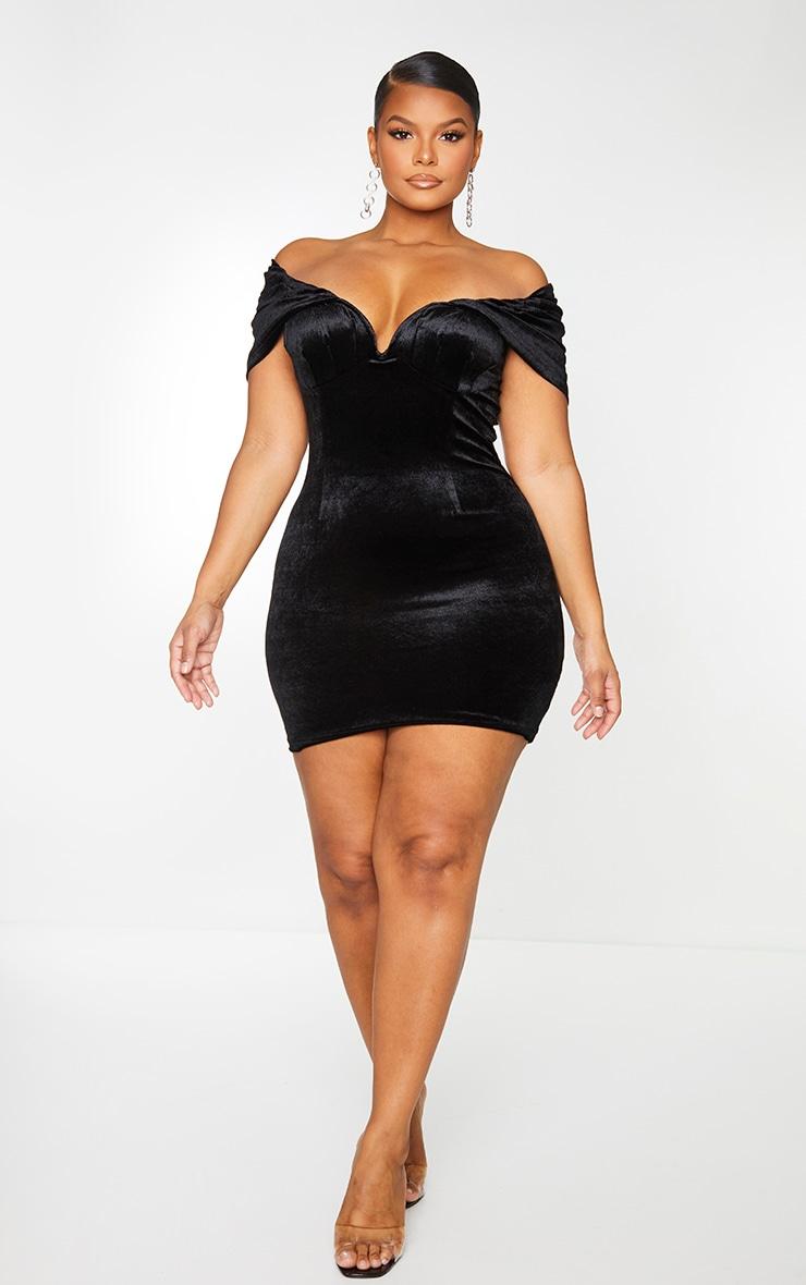 Plus Black Velvet V Bar Bodycon Dress 1