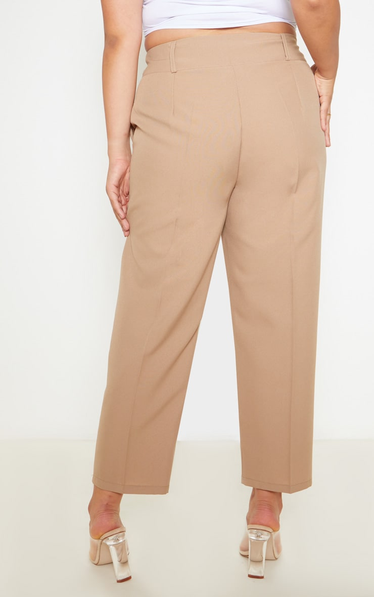 Plus Camel Woven Tapered Pants  4