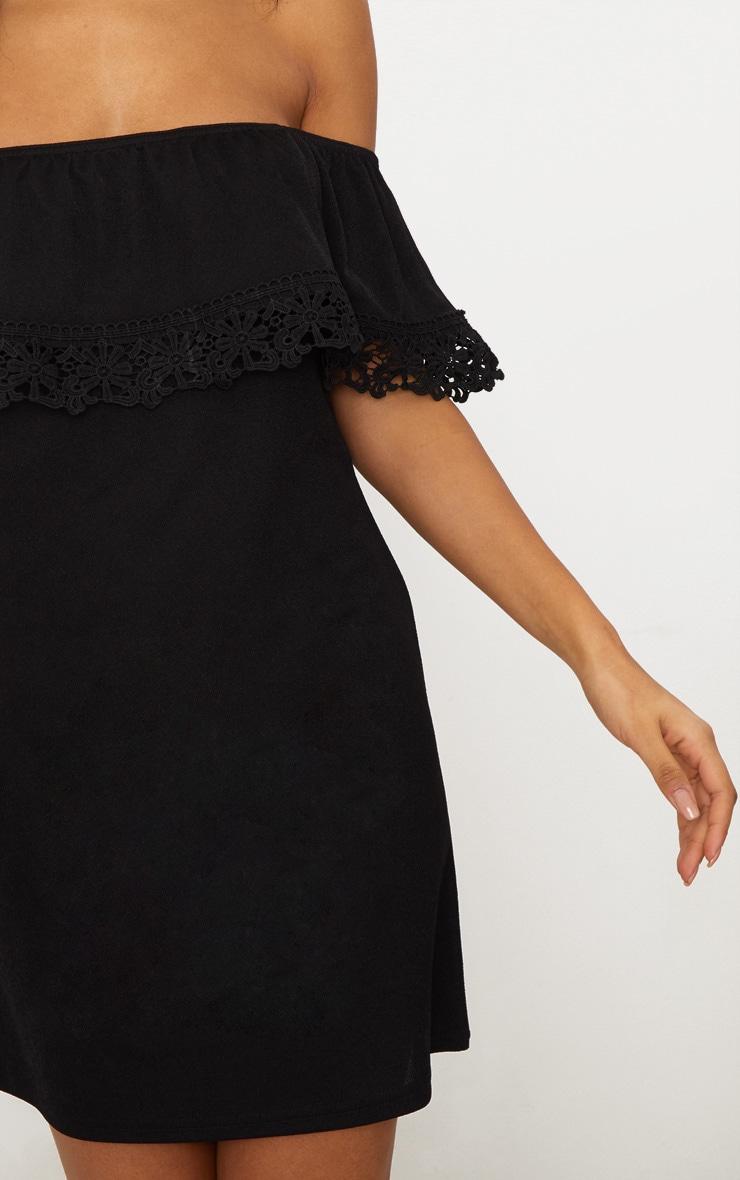 Black Lace Trim Bardot Smock Dress 5