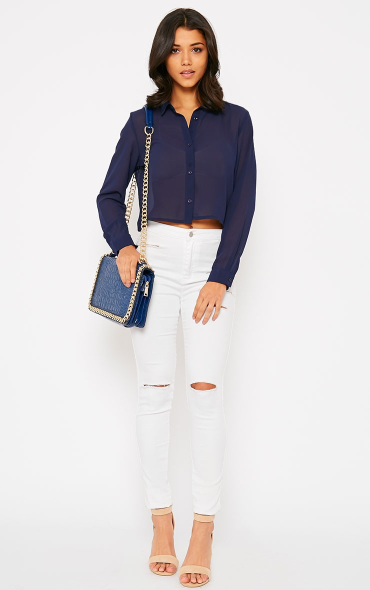 Libby Navy Cropped Shirt 3