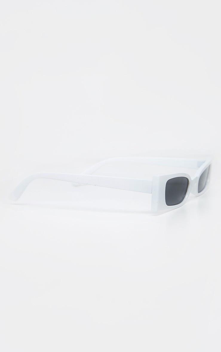 White Squashed Flat Rectangle Sunglasses 3