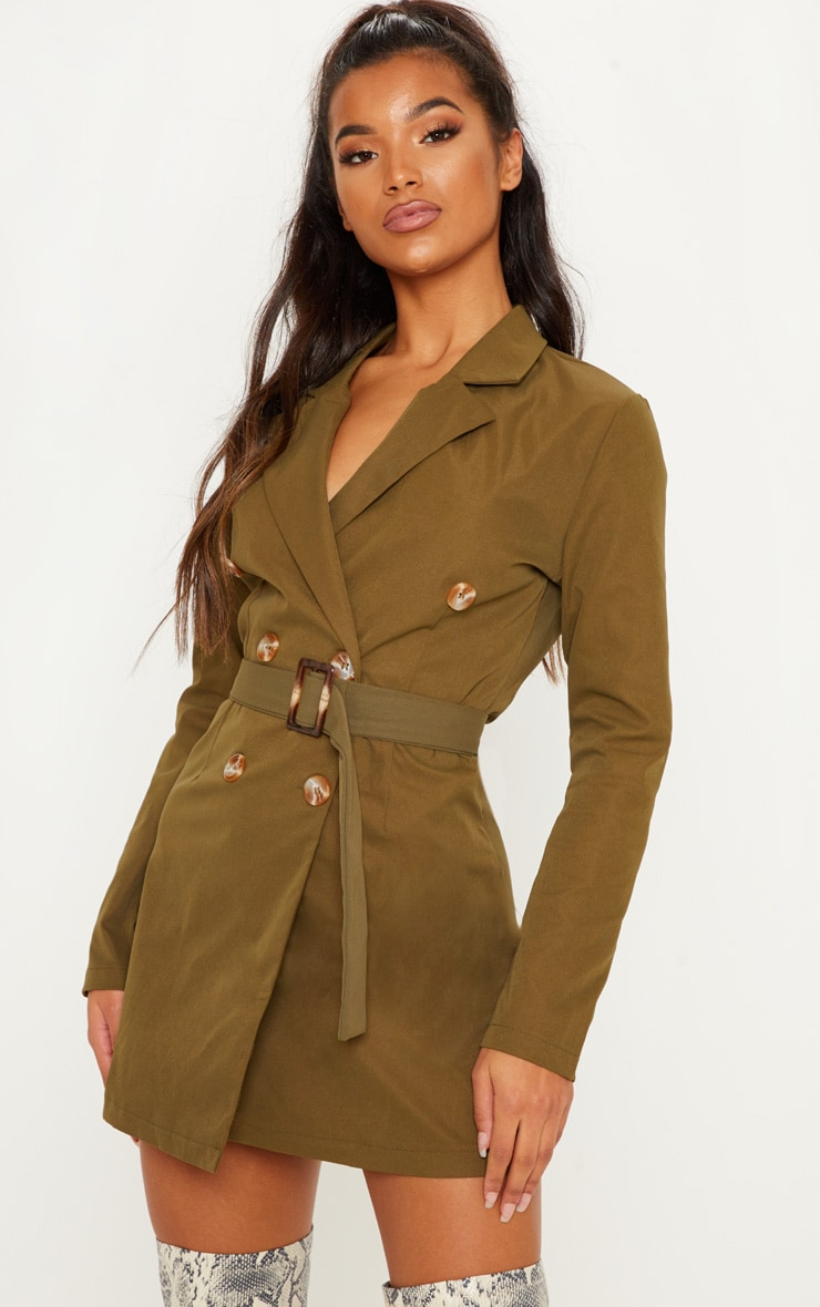 e8c61fdd78bc7 Khaki Belted Blazer Dress | Dresses | PrettyLittleThing USA