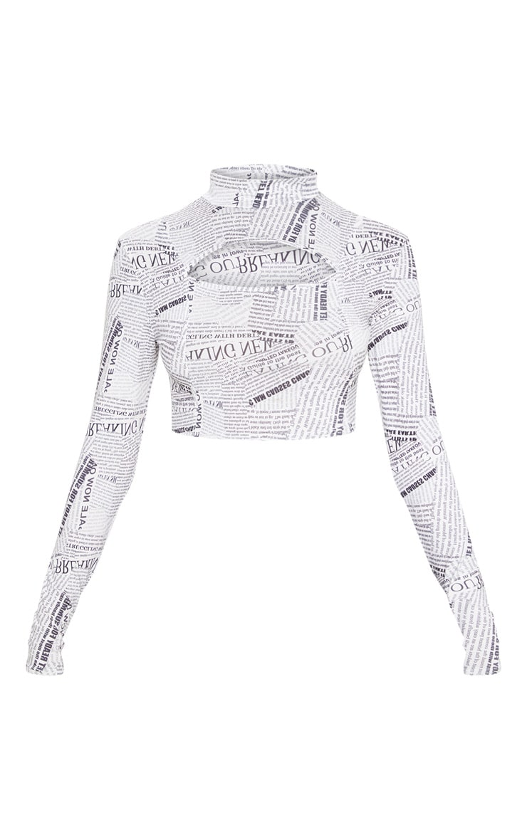 Mono Newspaper Crepe Panel Cut Out Crop Top 3