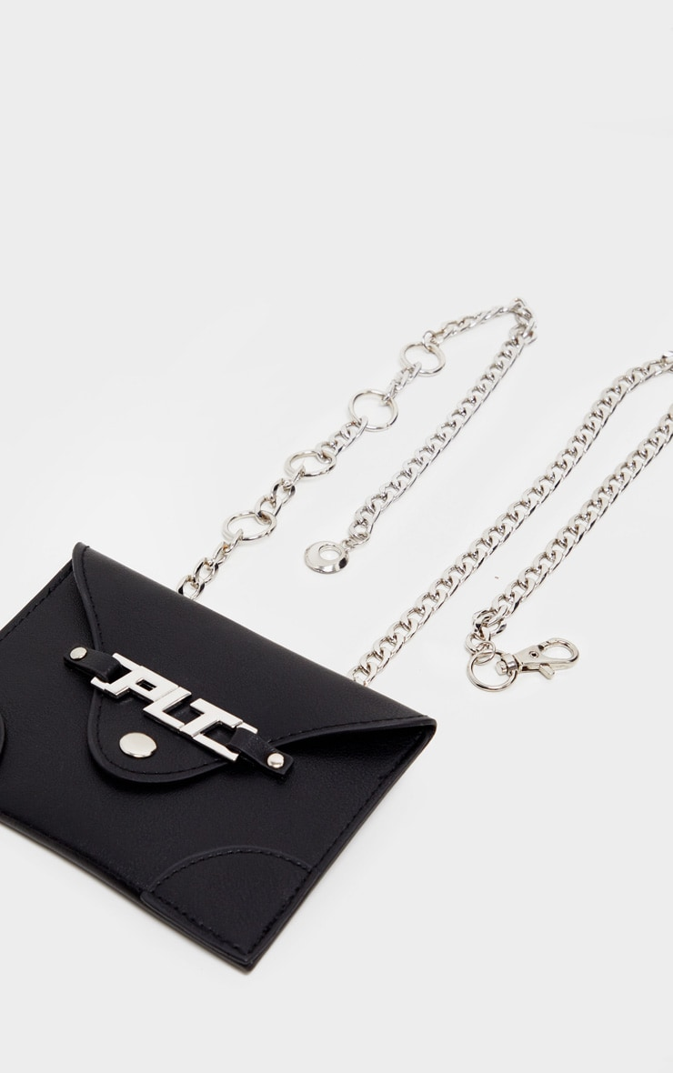 PRETTYLITTLETHING Black PU Envelope Chain Bum Bag 2