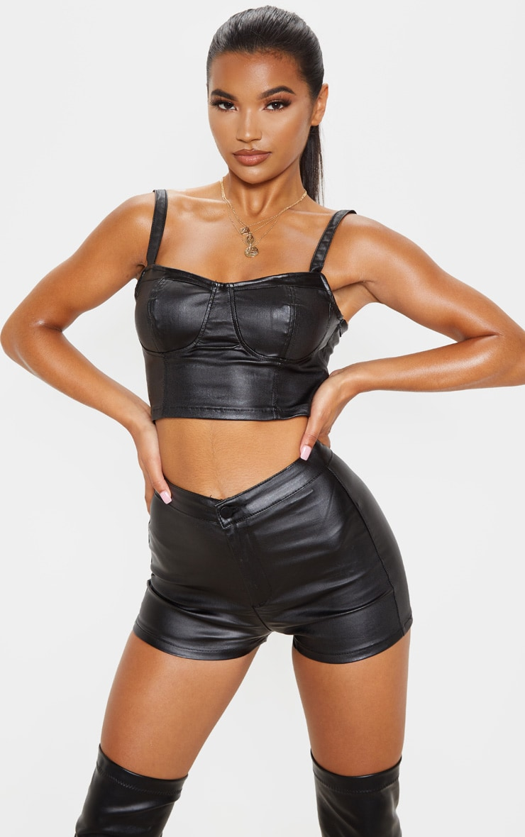 Black Coated Disco Shorts 1