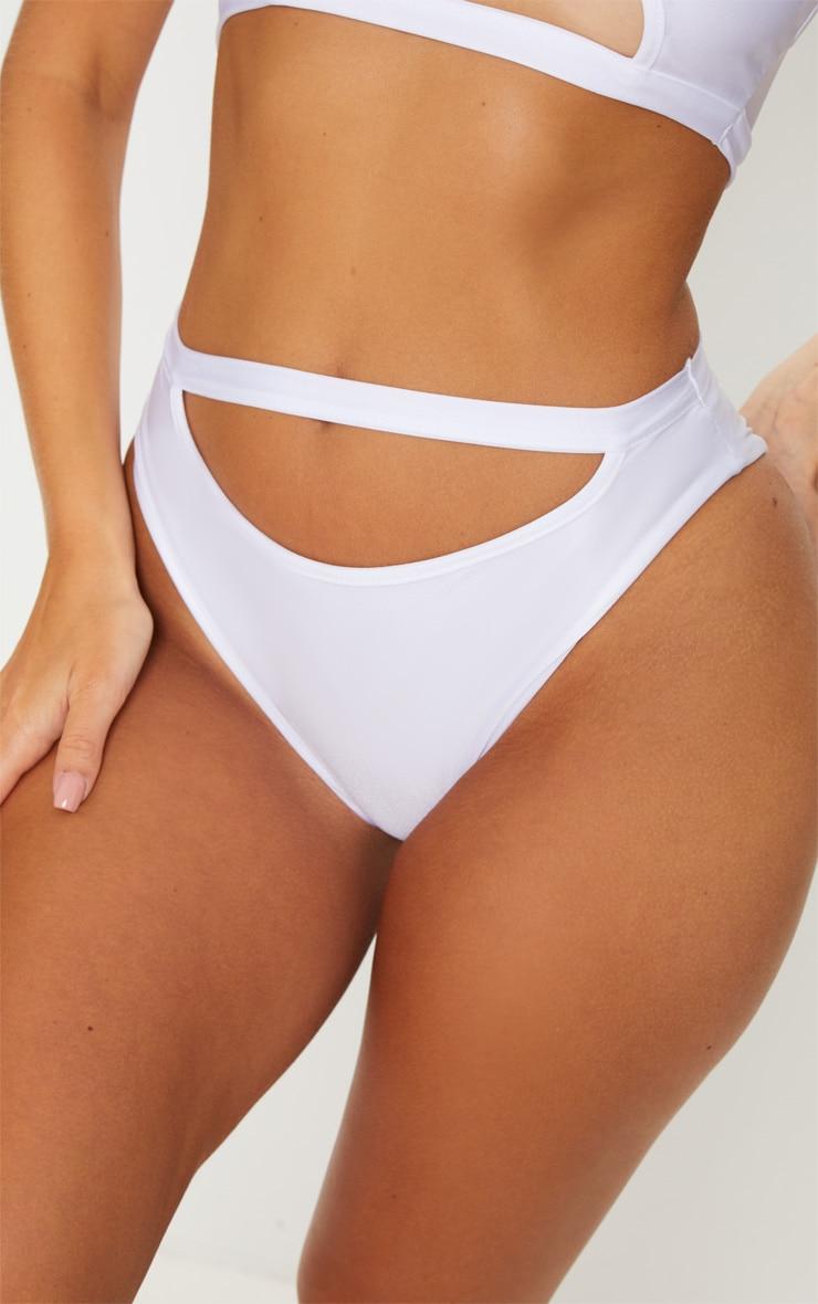 White Cut Out Bikini Bottom 6