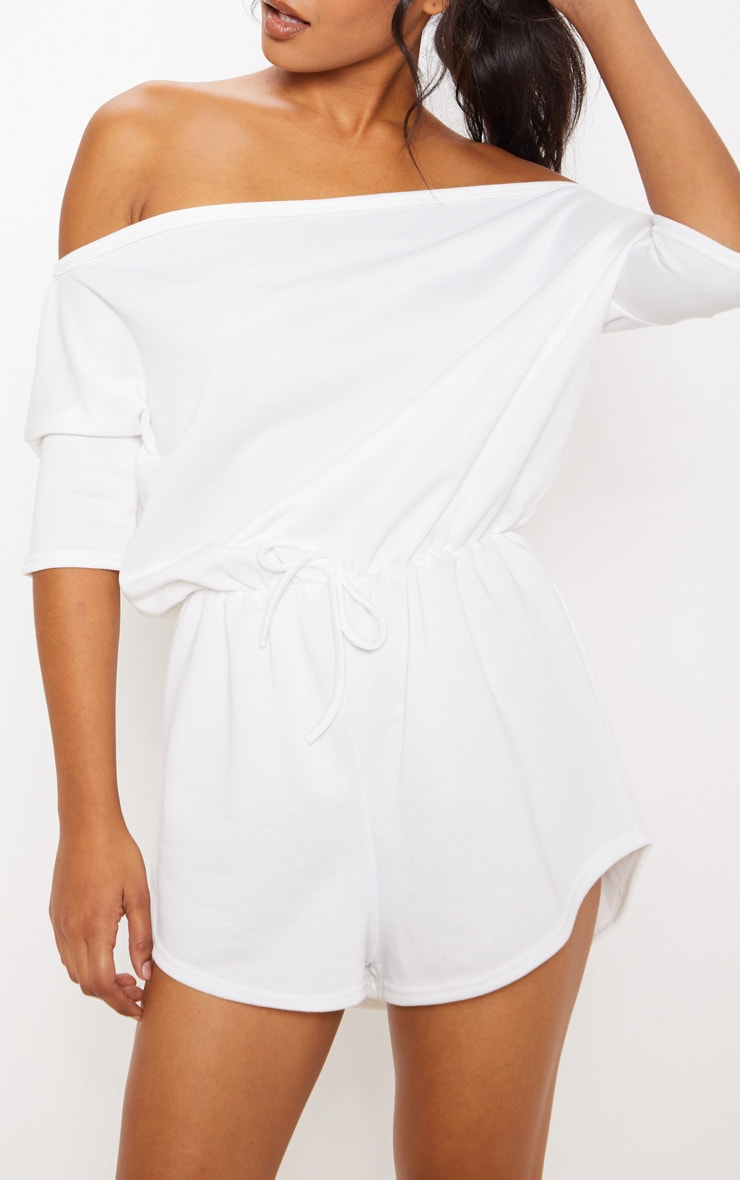 Cream Off The Shoulder Tie Waist Playsuit 5