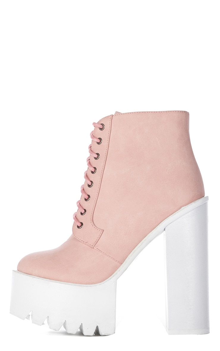 Wesley Pink Chunky Lace Up Boots 1