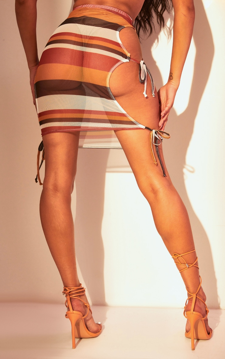 Brown Stripe Mesh Tie Side Mini Skirt 4