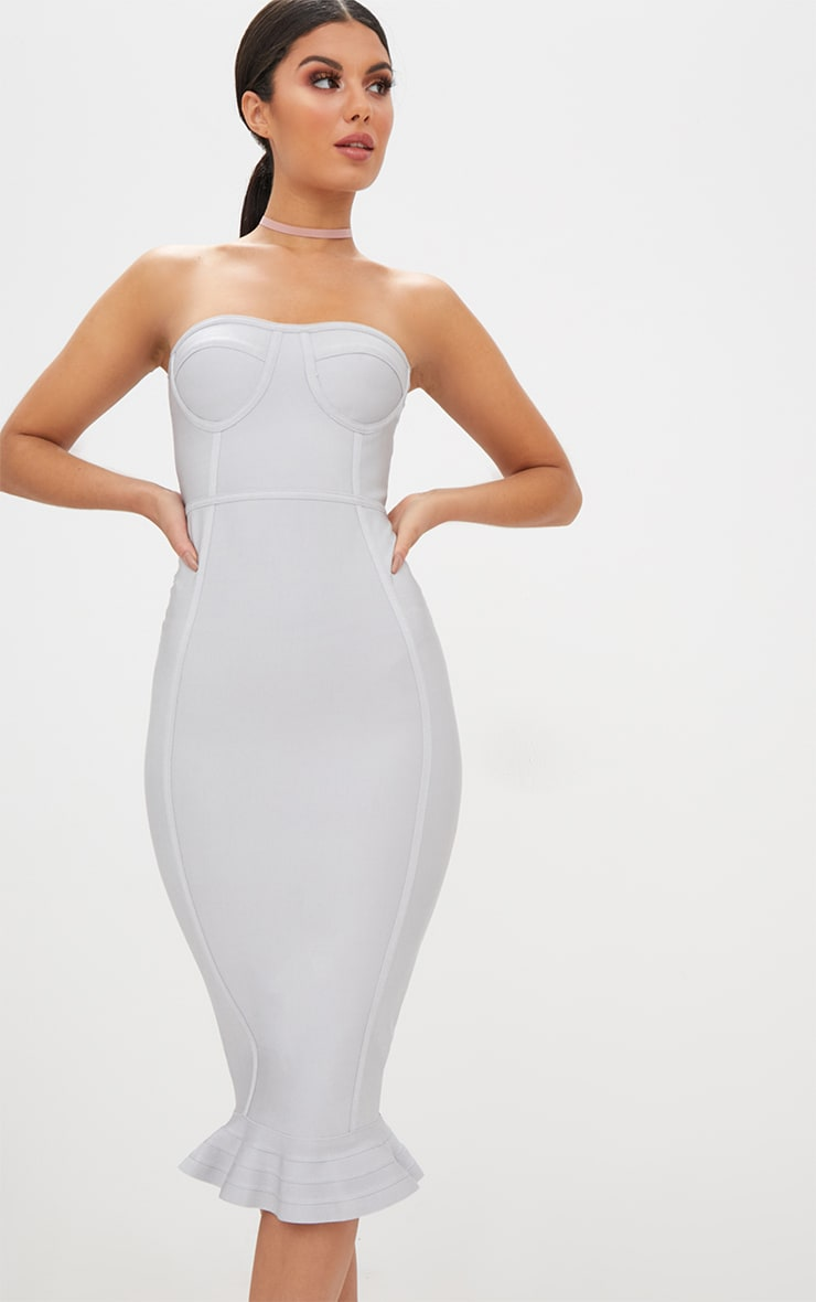 Ice Grey Bandage Frill Hem Midi Dress  1