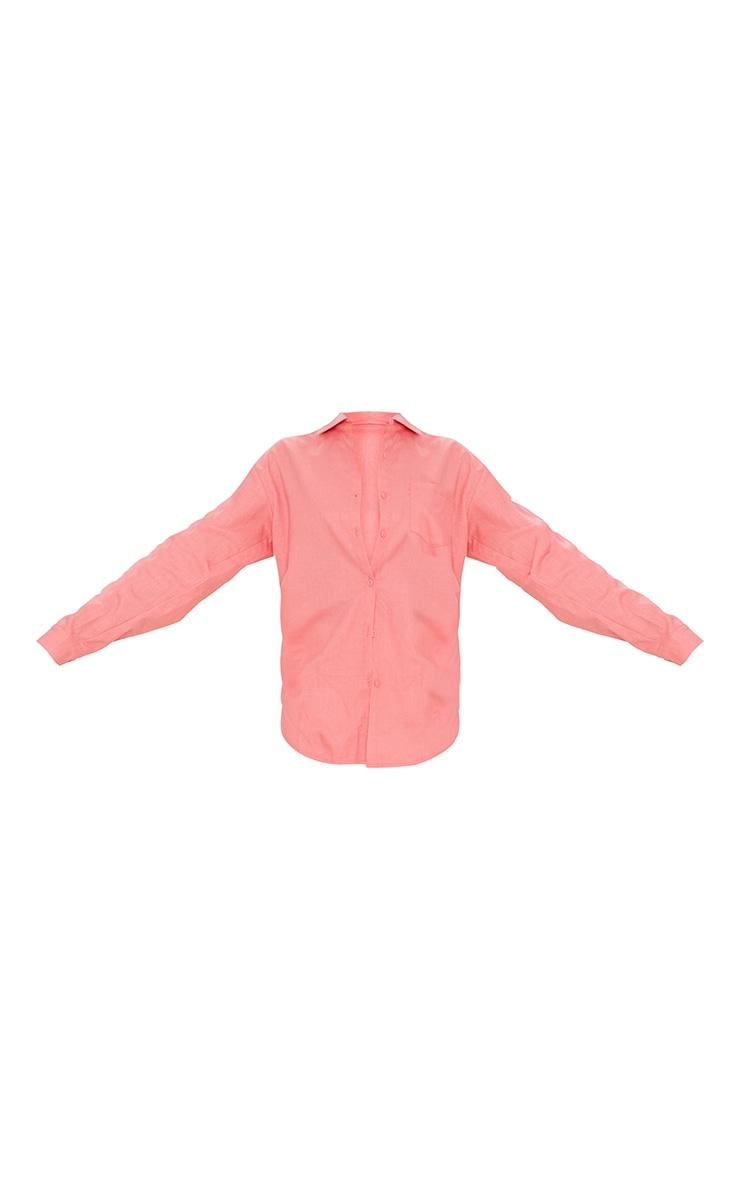 Tall Coral Linen Look Pocket Detail Shirt 5