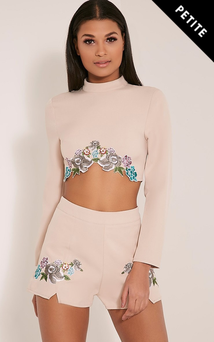Angie Petite Nude Floral Embroidered Crop Top 1