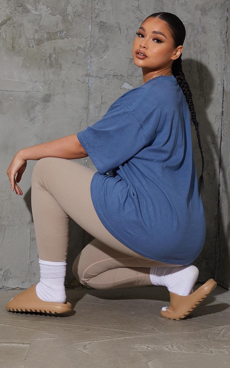 Plus Dusky Blue Oversized Boyfriend T Shirt 2