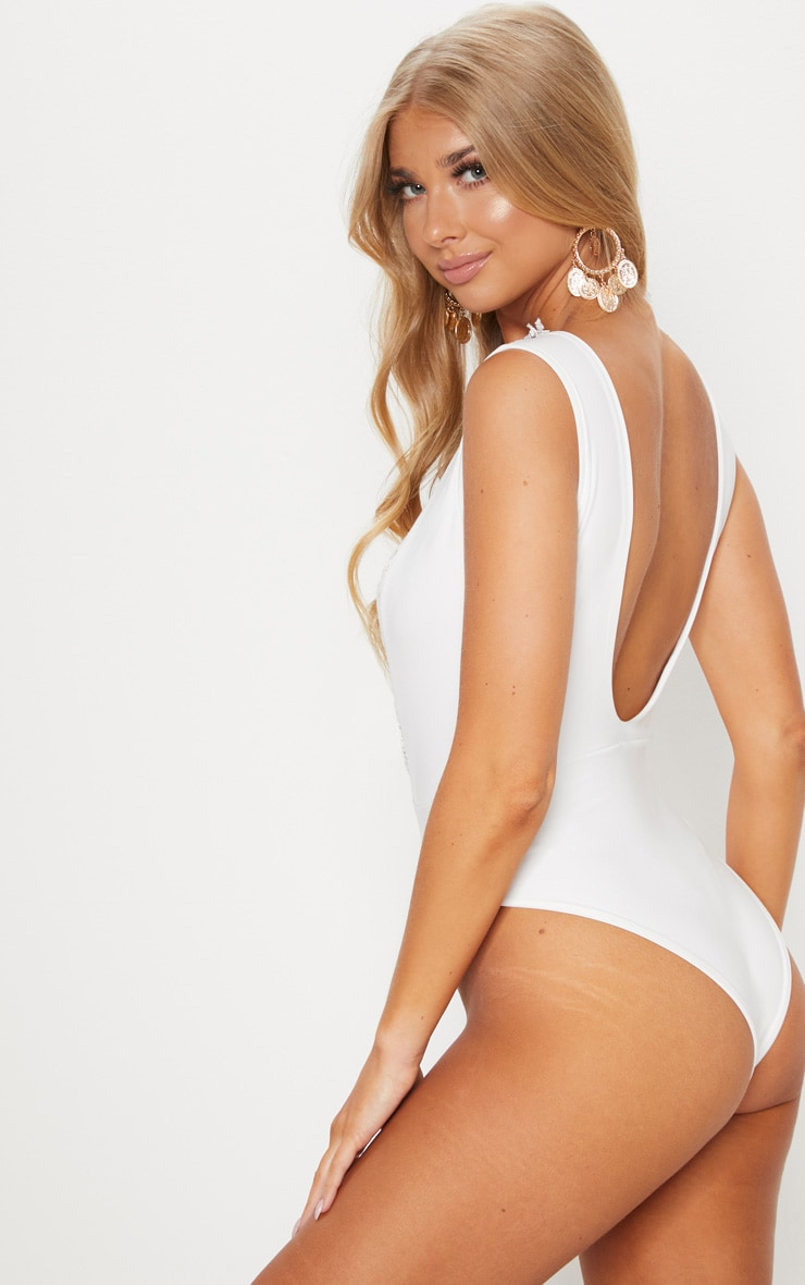 White Lace Up Lace Trim Swimsuit 2