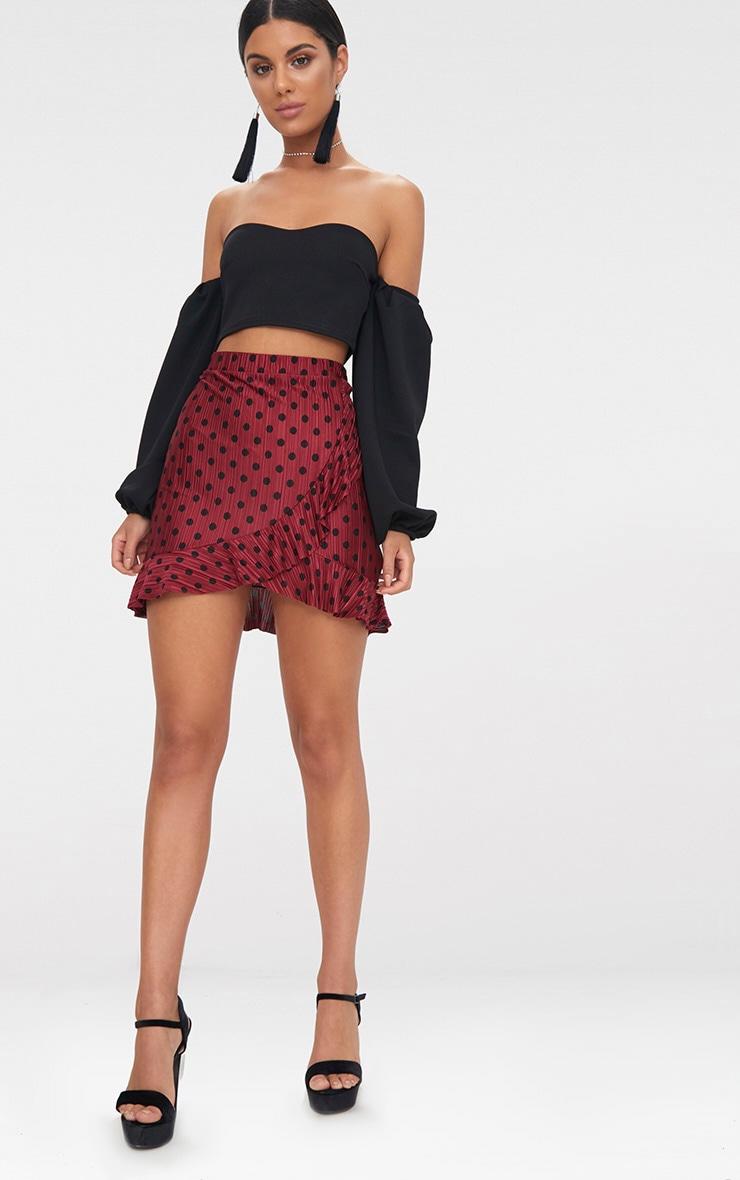 Burgundy Plisse Polka Dot Frill Wrap Mini Skirt  5