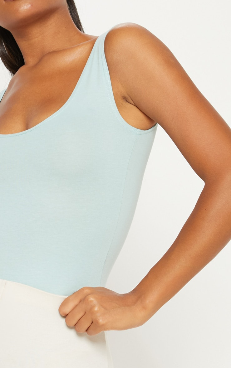 Mint Cotton Stretch Scoop Neck Thong Bodysuit 6