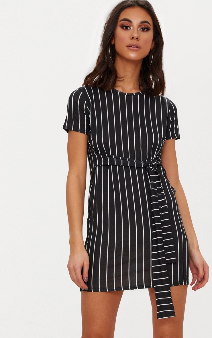 Black Stripe Tie Waist T Shirt Dress