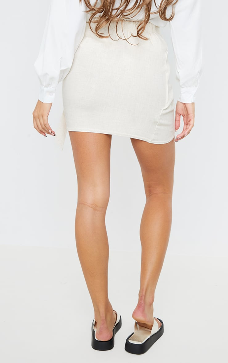 Stone Linen Look Wrap Skirt 3