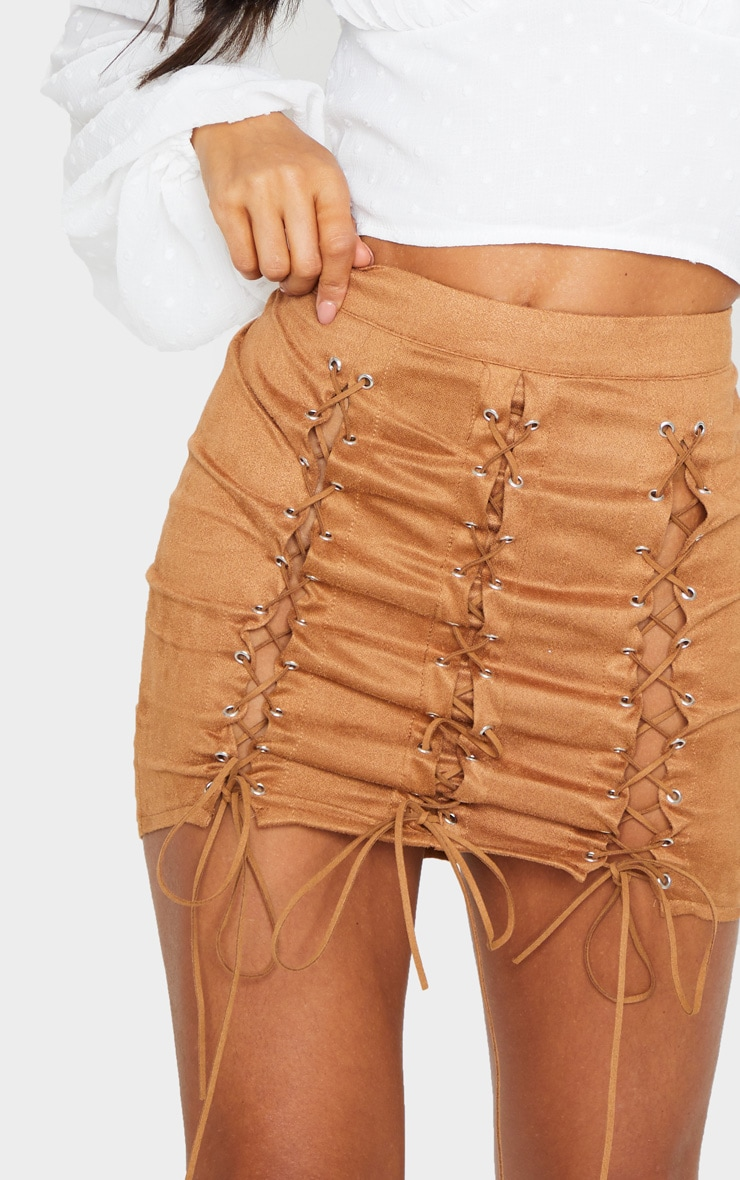 Tan Faux Suede Lace Up Detail Mini Skirt 5