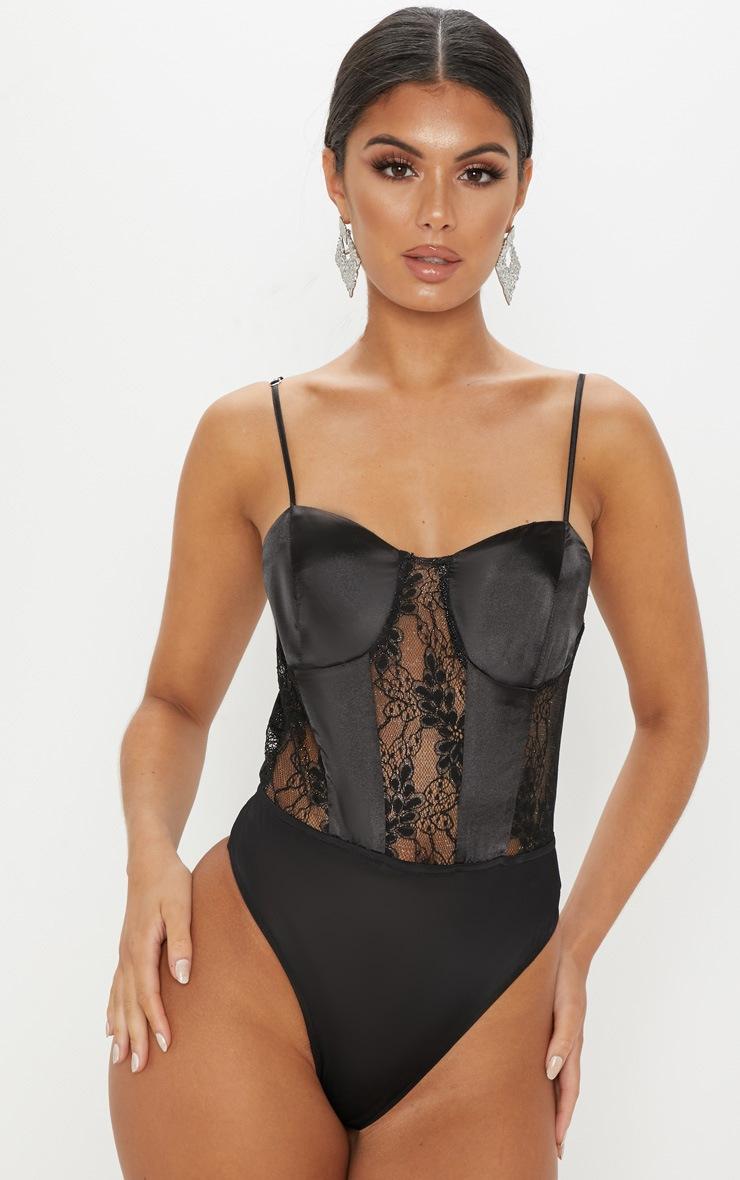 Black Satin Lace Mix Bodysuit 2