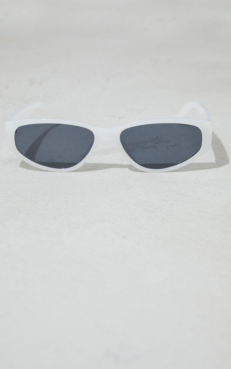 White Slimline Square Sunglasses 3
