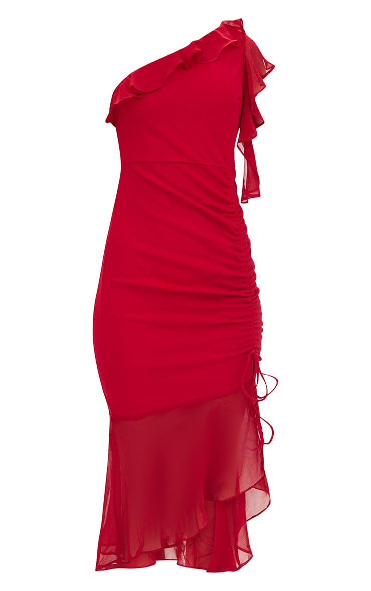 Red Ruched Detail Frill One Shoulder Midi Dress 3