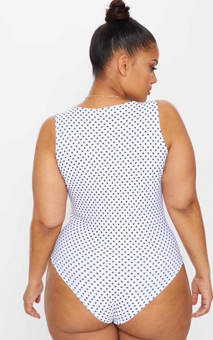 Plus White Polka Dot Slinky Wrap Front Detail Swimsuit 2