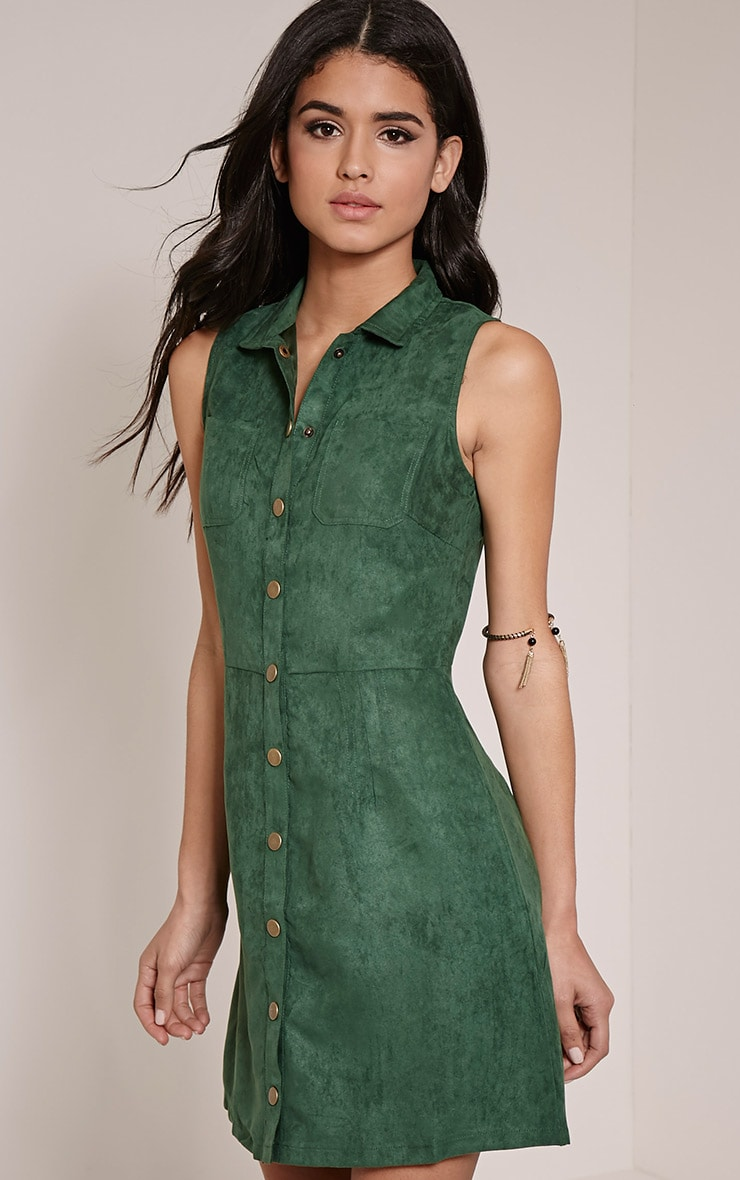 Maisy Bottle Green Button Down Faux Suede Pinafore Dress 4