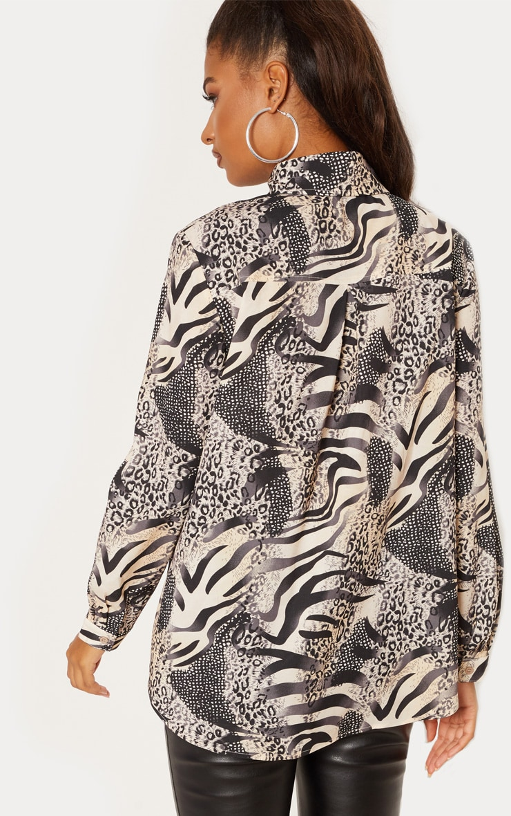 Grey Animal Print Oversized Shirt 2