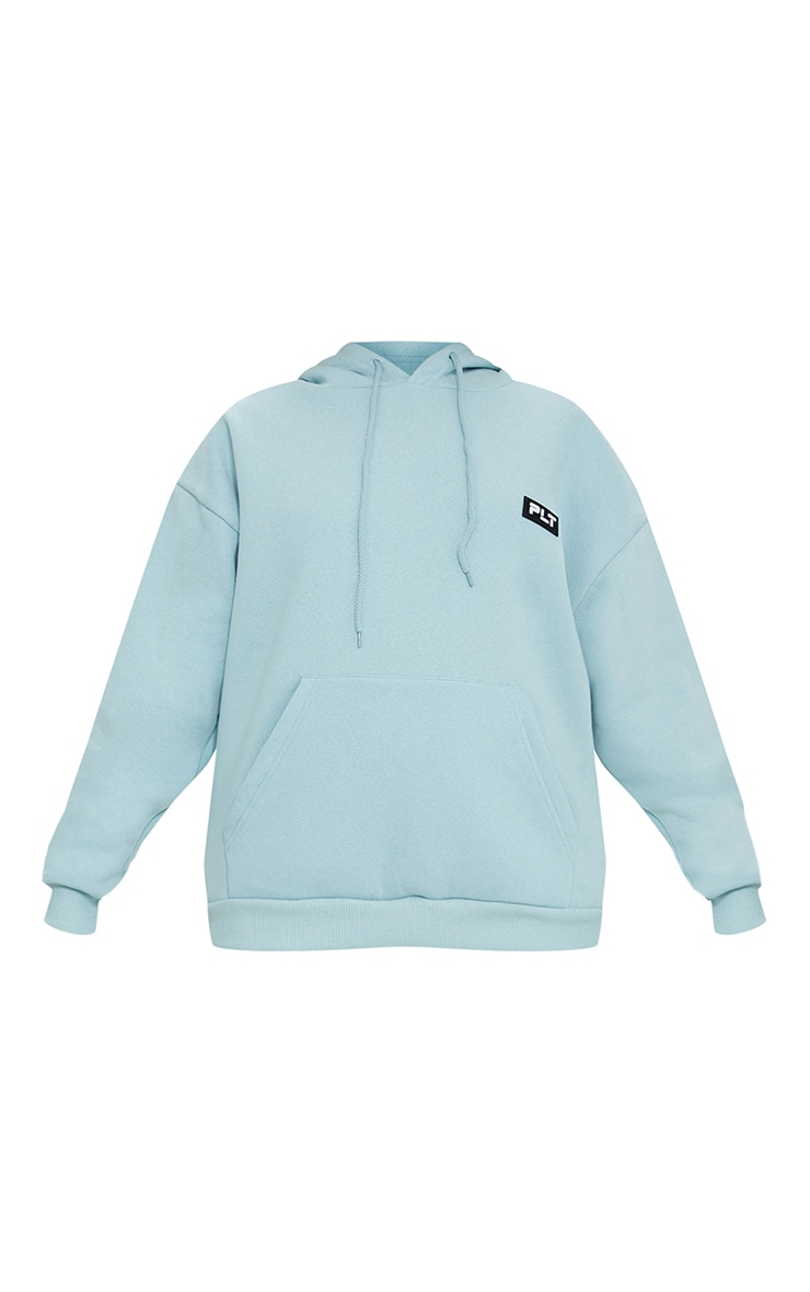 PRETTYLITTLETHING Petite Sage Blue Badge Detail Oversized Hoodie 5