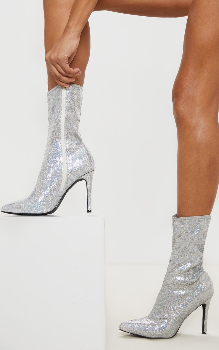 Silver Sequin Point Toe Ankle Boot 1