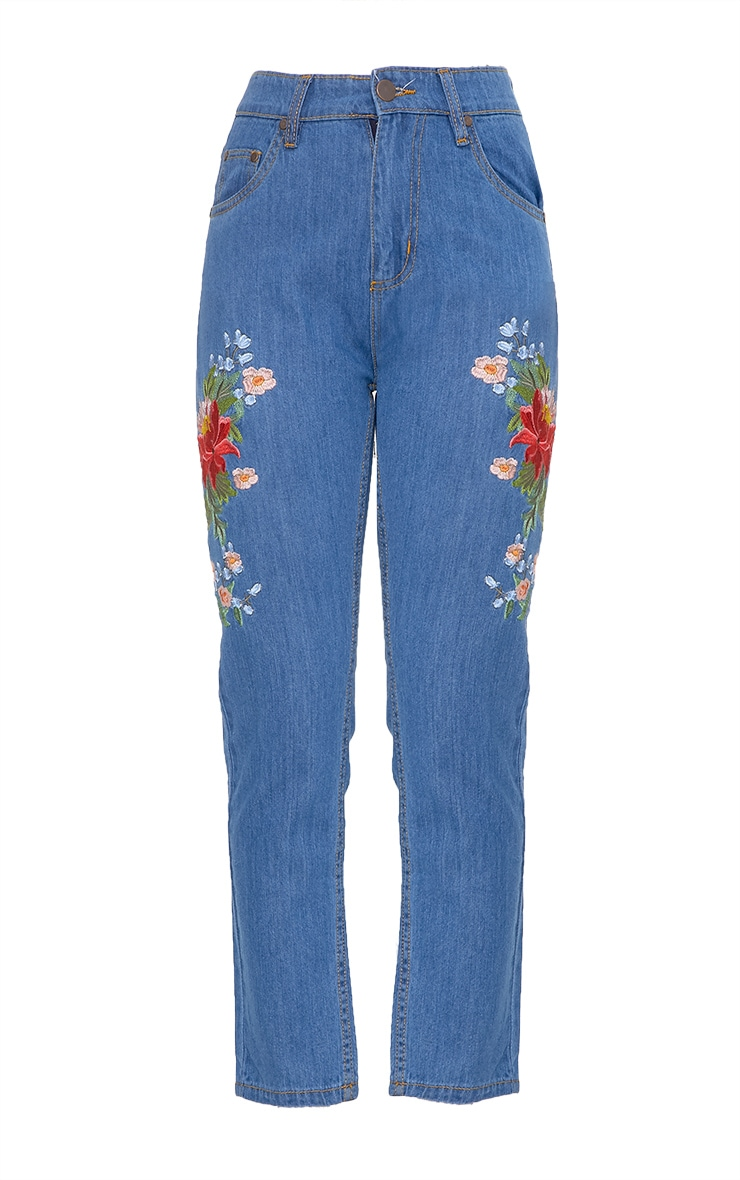 Mid Wash Floral Embroidered Slim Mom Fit Jean 3