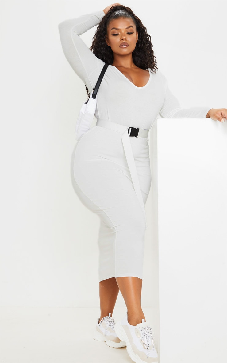 Plus Cream Jersey V Neck Long Sleeved Midi Dress 1