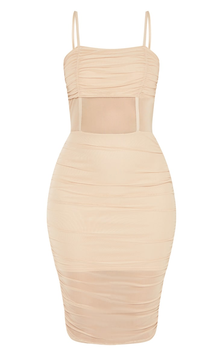 Stone Strappy Mesh Insert Ruched Midi Dress 3