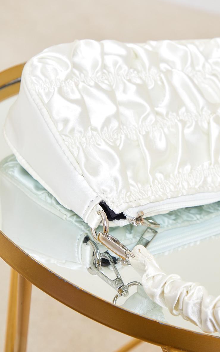 Cream Ruched Handle Shoulder Bag 4
