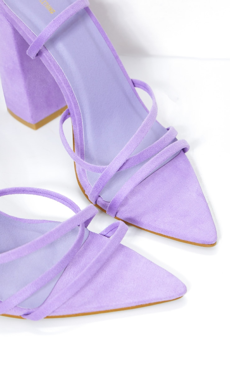 Lilac Faux Suede Strappy Point Toe Block Heel Sandals 2