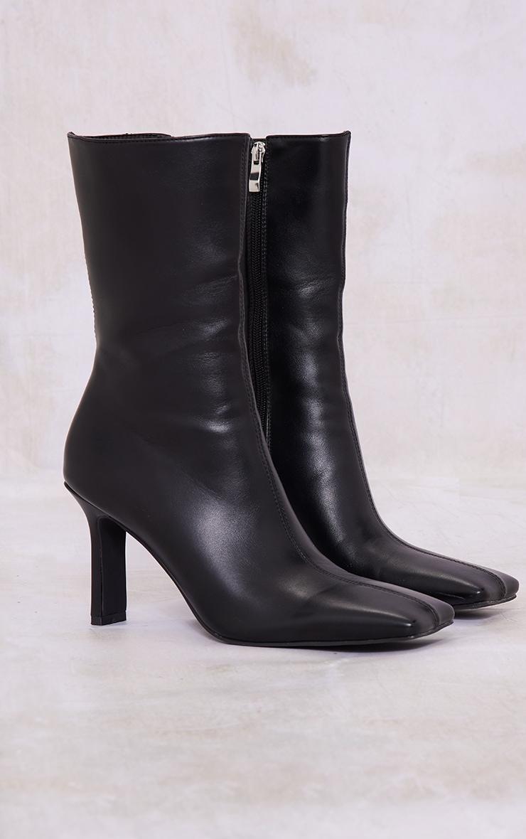 Black Pu Square Toe Flat Heel Ankle Boots 3