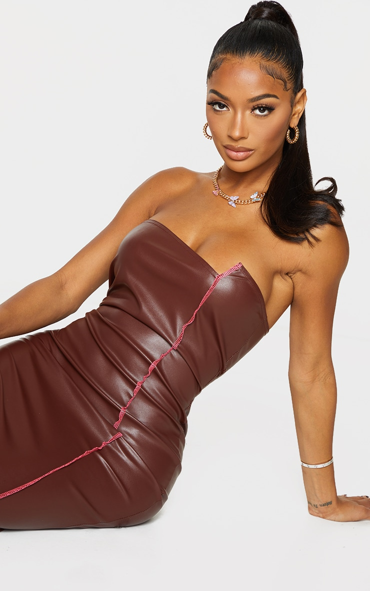 Shape Chocolate PU Overlock Detail Bandeau Midi Dress 4