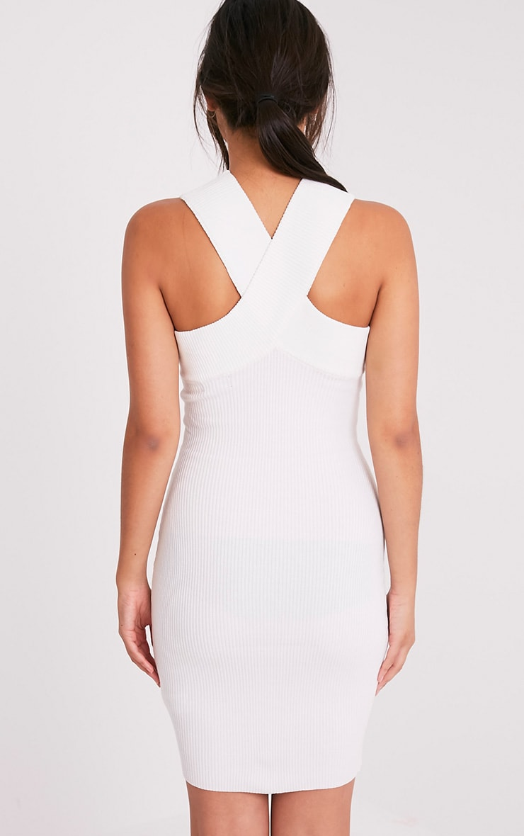 Aramiah Cream Ribbed Knit Body Con Mini Dress 2