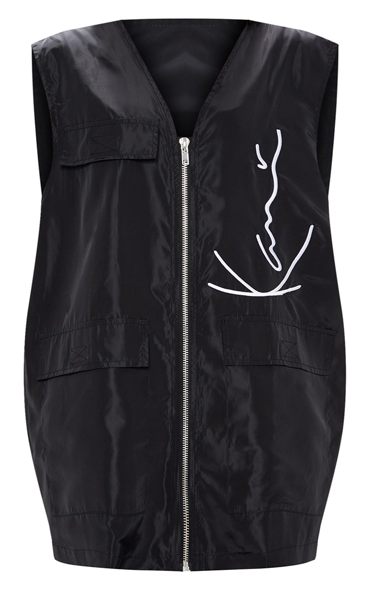 KARL KANI Black Embroidered Shell Sleeveless Oversized Jacket 5