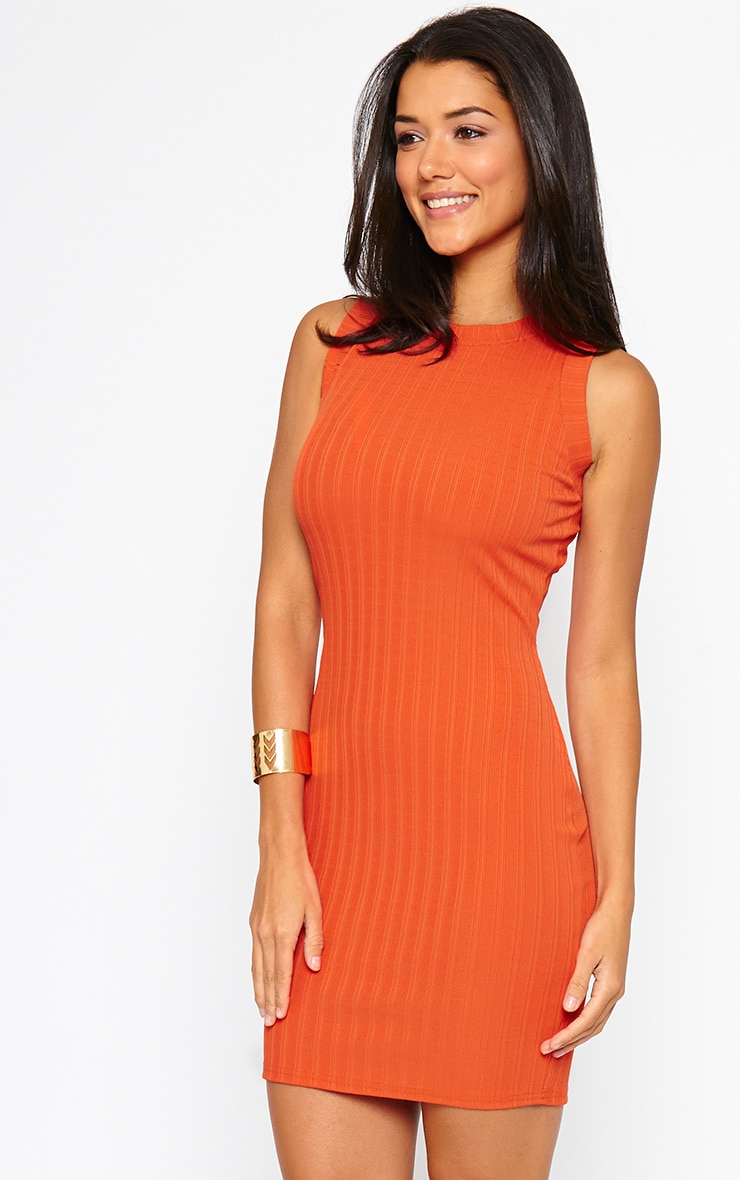Stefany Orange Ribbed Mini Dress 5