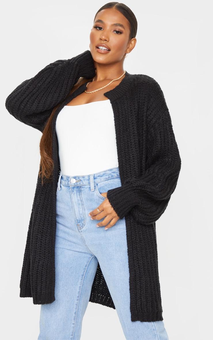 Black Premium Fluffy Chunky Knit Balloon Sleeve Midi Cardigan 1