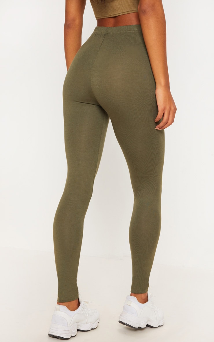 Khaki & Chocolate Basic Jersey Leggings 2 Pack 4