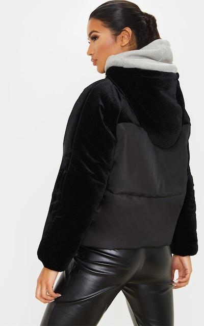 Black Velvet Contrast Puffer Coat