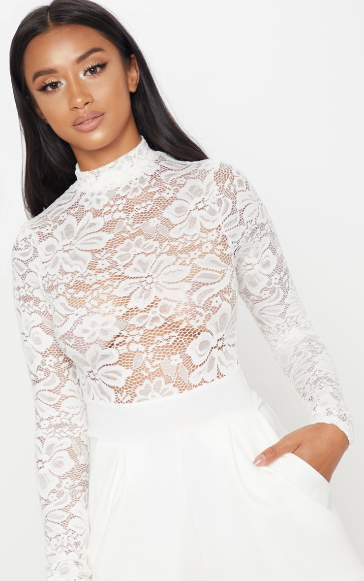 Petite White Lace High Neck Long Sleeve Jumpsuit 5