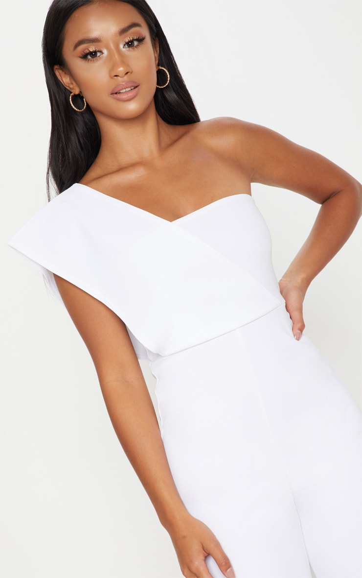 Petite White Drape One Shoulder Jumpsuit 6