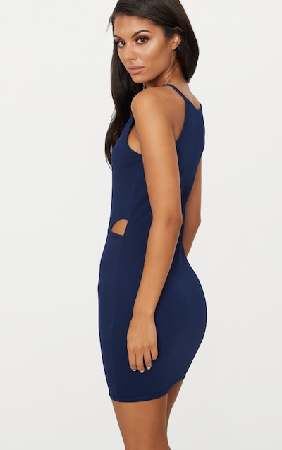 Navy High Neck Cut Out Bodycon Dress