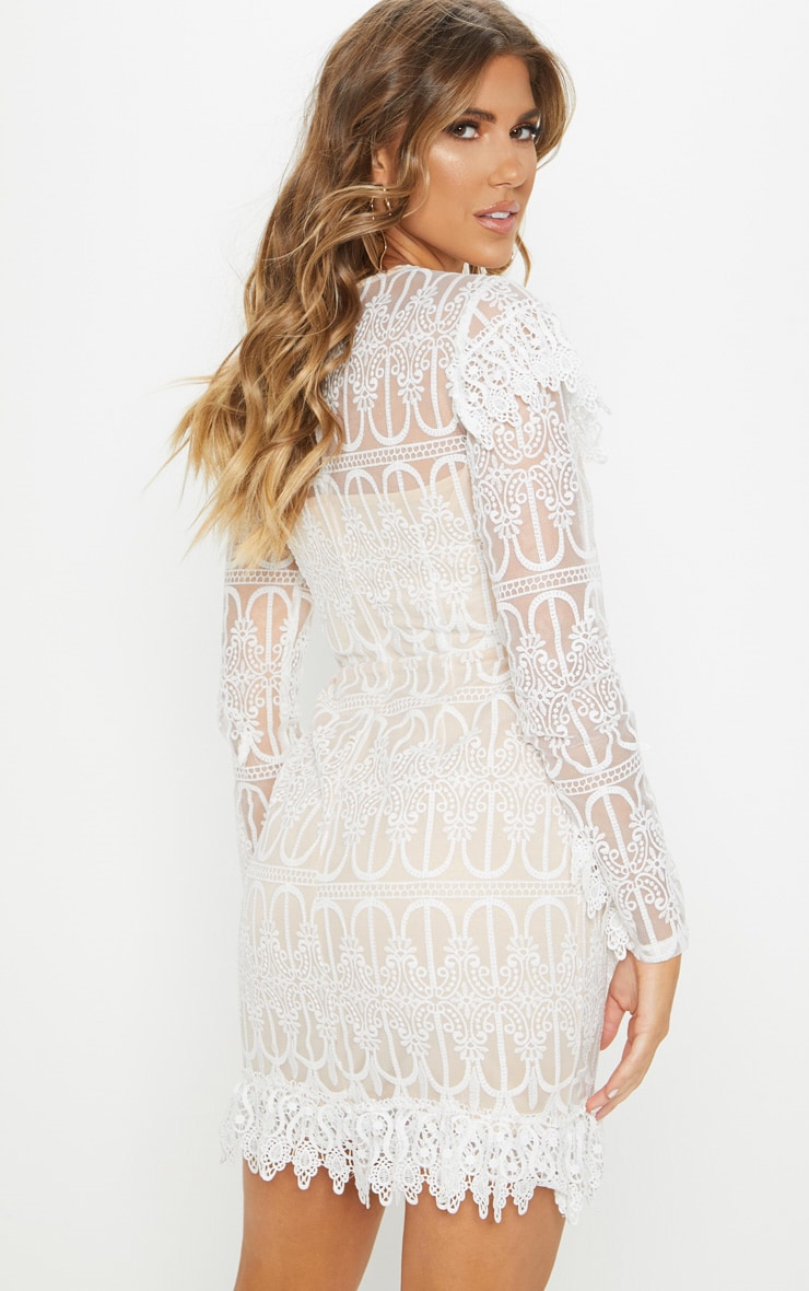 White Lace Frill Detail Long Sleeve Bodycon Dress 2